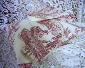 Linen Tote Bag -  Grocery Bag - Shopping Bag  - Toile de Jouy  -  Red & Cream - Handmade