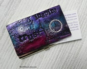Elegant Polymer Clay Business Card Holder - Stainless Steel and Polymer Clay Credit Card Case