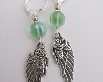 Angel Wing Earrings - Green