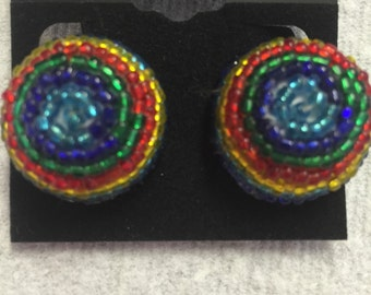 Multiple Color Seed Beaded Dome Clip Earrings