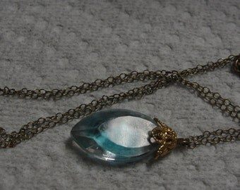 Vintage Blue Faceted Bead Dainty 16 inch chain necklace