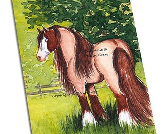 Horse Art Print Gypsy Horse Art Print Strawberry Roan Pinto Horse Art Tinker Cob ACEO 5x7 Horse Print Denise Every Horse Gift Horse Lover