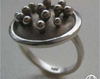 Sterling Ring with pinheads in a curved oxidized dish