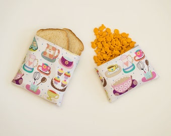 BAKING ESSENTIALS - Eco Friendly Reusable Sandwich and Snack Bag Set (Zipper or Velcro)