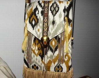 Handmade Cross Body Purse, Upcycled, Fringed, Boho Shoulder Bag, Hippie