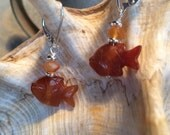 fish earrings - orange sa...