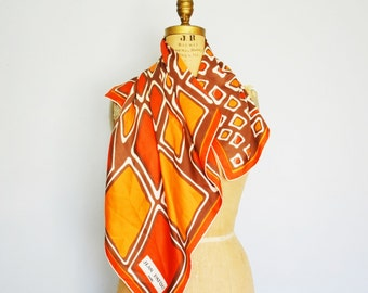 Jean Patou silk scarf-60s Geometric scarf-Large scarf