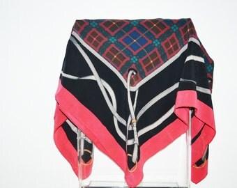 vintage silk scarf -Plaid silk scarf - Equestrian silk scarf