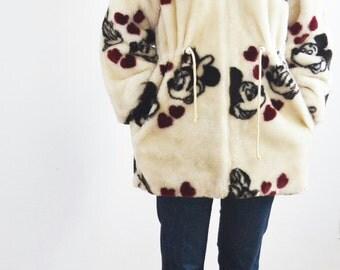 vintage 80s Disney faux fur coat with hood-Vintage Disney jacket