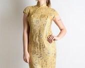ON SALE Vintage Cheongsam Cocktail Dress - Golden Yellow Metallic Shine Wiggle - Medium