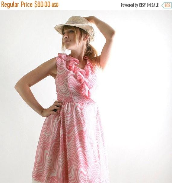 ON SALE 1960s Vintage Dress - Bubblegum Pink and White Zebra Print Sleeveless - Medium Summer Dress