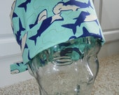 Tie Back Surgical Scrub Hat with Sharks Hammerheads