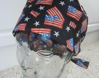 Tie Back Surgical Scrub Hat with Patriotic USA Flag