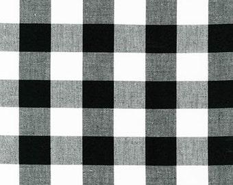 """Plaid Fabric, Plaid Scarf Fabric, DIY Plaid Blanket Scarf, Apparel Fabric, Carolina 1"""" Gingham Fabric in Black by R. Kaufman, Buffalo Plaid"""