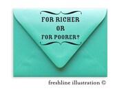 for richer or for poorer stamp, wedding stamp, wedding favor stamp