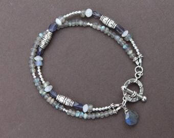Labradorite Iolite Moonstone Gem Mix Silver Pewter Sundance Style Double Strand Bracelet