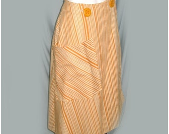 VIntage 1950's Saks Fifth Avenue Yellow Striped Wrap Skirt