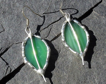 Green Leaf Shaped Stained Glass Earrings