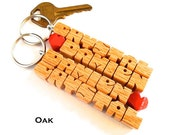 """Personalized """"His and Hers"""" Love Keychains - SPECIAL for 2 - Oak Wood Names"""