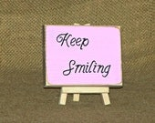 Keep Smiling Quote, Rustic Wood Sign, Encouraging Plaque, Home or Office Decor, Country Cottage Chic, Inspirational Verse, CoWorker Gift