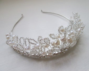 Bridal headpiece/ bridal hair accessories/ handmade tiara/ freshwater pearl swarovski crystal bridal tiara
