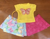 Butterfly Reversible wrap doll skirt, 18 inch doll clothes 15 inch doll skirt Girl twin doll, Doll butterfly skirt, doll reversible skirt