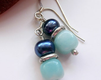 Handcrafted Artisan Blue Fresh Water Pearl Amazonite Cube Sterling Silver Bohemian Hippie Gift for Her Dangle Drop Earrings