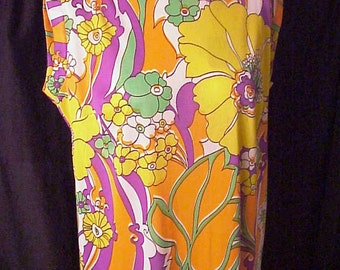 Mod Psychedelic 1970s GoGo Dress old stock