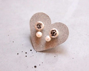 Rose with Pearl Sterling Silver Stud Earring, Wedding Jewelry - Custom Order