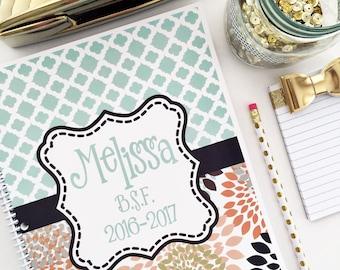 Personalized Spiral Notebook, Floral Spiral, Lined Spiral, Monogrammed Spiral, Journal