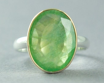 Mossy Green Fluorite Ring, Gold and Silver Ring, 14K Gold, Sterling Silver, Green Stone Ring, Made to Order, Free Courier Shipping