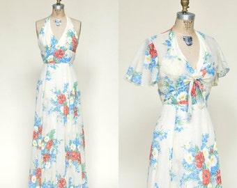 30% OFF Vintage Maxi Dress --- 1970s Floral Dress