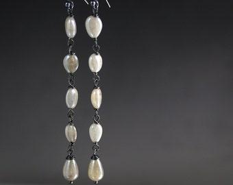 Long Silverite Drop Earrings in Oxidized Sterling Silver