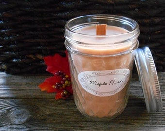 Mason Jar Candles-Autumn Scents-Fall Candles-Wood Wick Soy Candles-Maple Pecan-Caramel Apple-Pumpkin-Spiced Chestnuts