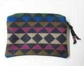 Large Zippered Pouch Cosmetic Bag Accessory Organizer Southwest Blanket Wool Oswego Bay