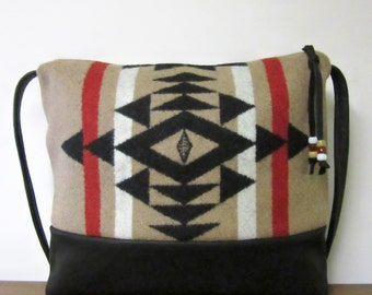 Cross Body Bag Purse Shoulder Bag Black Leather Wool Tribal Print from Pendleton Oregon Southwest Style
