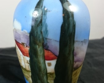 Vintage Hand Painted Landscape Seascape Ceramic Art Pottery Posy Flower Vase 1940's