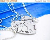 ON SALE Personalized Necklace - 4 piece puzzle piece necklace set - Best Friend necklace set for 4 -  Hand Stamped - Bridesmaid jewelry set