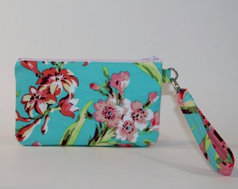 Wristlet / Padded Zipper Pouch - Bliss Bouquet