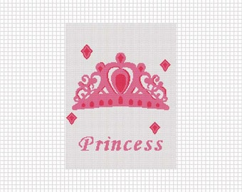 INSTANT DOWNLOAD Chella Crochet Princess Crown 2 Afghan Crochet Pattern Graph