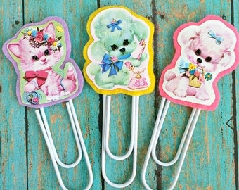 Vintage Big Eyed Cuties Jumbo Paperclip Bookmark -- Set of 3