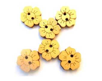 10 Buttons, wood,  flower shape, 15mm, natural wood, for crafts