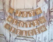 SET OF 3 Joy Peace Love banners Christmas Garland Christmas Decoration  Love banner Joy banner Peace banner Garland Be Merry