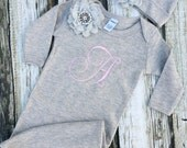 Baby Girl Hospital Gown, Coming Home Outfit, Grey and Pink, Baby Girl Monogrammed Bodysuit and Hat