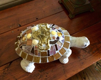 Garden Mosaic Stained Glass Cement Turtle.  Her name is Bella