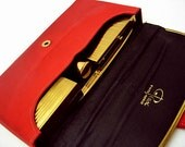 1940's Vintage REX 5th Ave. Fitted EVENING BAG-Carryall-Red Satin-Lipstick-Compact-Comb-Cigarette Case-New Old Stock-Never Carried-Perfect