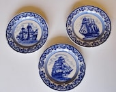 Set of 3 Royal Delft Ship Wall Plates 5.5 Inches Blue and White