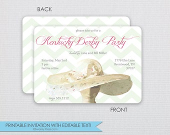 Watercolor Chevron Kentucky Derby Invitation - Dinner Party - DIY - Instant Download & Editable File - Personalize at home with Adobe Reader