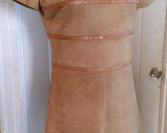 Vintage 60's Suede & Leather Dress, A-Line, Size S/M