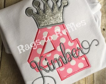 Birthday Princess Crown Shirt 4th Birthday Monogrammed Shirt